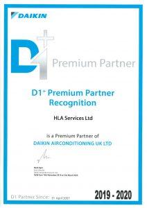 Daikin D1 Premium Partner Certificate