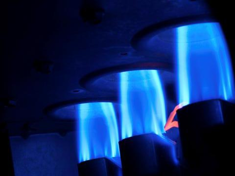 Three natural gas burners